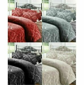 Teddy Fleece Duvet Set Embossed Damask Design Bedding Cover with Pillowcases