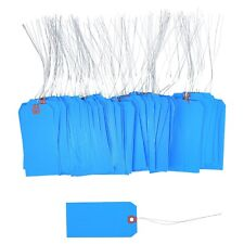 100 Pcs Of 4 34 X 2 38 Size 5 Blue Cardstock Hang Tag Tags With Wire 13 Pt