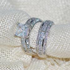 Womens Princess Cut CZ White Gold Filled Wedding Ring Set Engagement Band Sz6-10