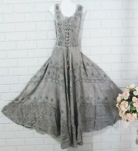 MEDIEVAL RENAISSANCE EMBROIDERED GREY CORSET DRESS 14  to 18    108-116CM