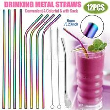 12PCS Stainless Steel Drinking Metal Straw Reusable Bar Straws Cleaner Brush Kit