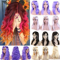 Hot Shiny Cosplay Anime Full Wig Curly Wavy Straight Anime Cosplay Wigs Purple h