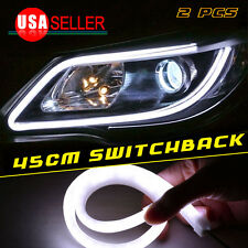 2X White 45CM Flexible LED Tube Guide Lamp DRL Daytime Running  Light Soft USA