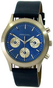 PREDIAL Chronograph Quarz Edelstahl Herrenuhr feines Lederband blau silber 38mm