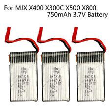 3x 3.7V 750mAh Li-Po Batteries For MJX X500 X400 X300C RC Quadcopter Drone Kit