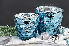 """CASABLANCA Deko Windlicht """"Dents""""  eisblau Glas Bauernsilberoptik D.7,5 cm H.7,5"""