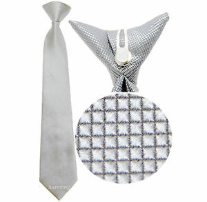 New 100% Polyester Woven  Kids Clip On Pre Tied Neck tie White Size 14 formal