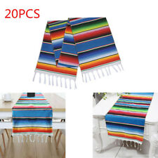 20pcs Mexican Serape Table Runners Festival Party Decor Fringe Cotton Tablecloth