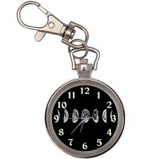 Moon Phases Silver Key Ring Chain Pocket Watch