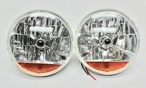 7 INCH H4 HEADLIGHTS SEMI-SEALED with INDICATOR LENS PAIR - HOT ROD,FORD,CHEV