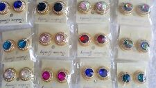 JOBLOT de 12 Pares De Aretes Con Diamantes Cristales y Mezclado Color-nuevos al por mayor