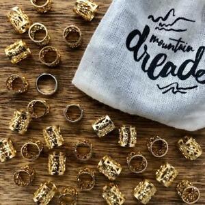 30 Gold Filigree Dreadlock Beads Cuffs 7mm Hole (9/32 Inch) + FREE Steel ring