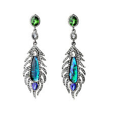 Earring Stud Black Silver Green Blue Crystal Peacock Feather Pendant Vintage X10