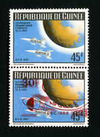 Guinea Stamps Pair With Missing Overprint Error NH