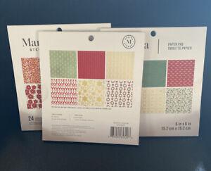 3 Martha Stewart 6 x 6 Paper Pads 24 Sheets Acid Free Christmas Wreath Snowflake