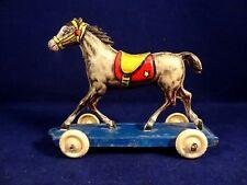 Ancien jouet cheval en tôle penny toy à tirer litho AMB Italy 1950 Bologna