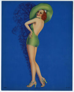 Fine 1940s Pin-Up Print Billy Devorss Hatted Temptress Perfection Scarce Image