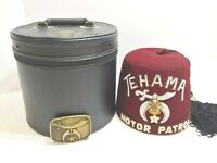 VTG Shriner's Tehama Rhine Stone Hat w/Tassel, INCLUDES Case/Belt Buckle - RARE!
