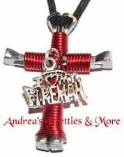 Disciple's Cross Horseshoe Nail Necklace - Wire Wrapped Cross I Love My Fireman