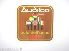 VECCHIO ADESIVO AUTO anni '80 / Old Sticker AUDI 100 AUTO ANNO 1983 (cm 9 x 9)