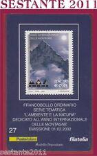 TESSERA FILATELICA FRANCOBOLLO L'AMBIENTE E LA NATURA  MONTAGNE 2002 D28