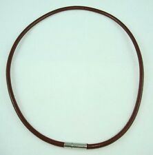 "17"" Brown Surfer 4mm Round Leather Choker Necklace Cool Men's"