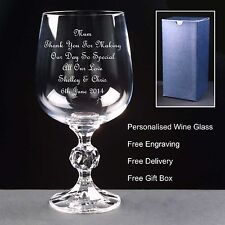 Personalised 230ml Crystal Wine Glass, Mother of the Bride, Wedding Gift /Favour