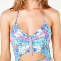 Sequin Butterfly Crop Top Belly Dance Festival Rave Club Sexy Halter Bra Tops