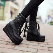 Ladies Women Gothic punk platform High top Buckle Wedge Heels combat Ankle Boots