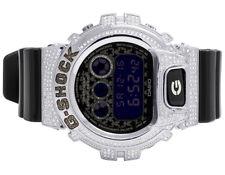 Mens Ladies Casio G Shock 6900 Black Glossy Black & White Diamond Watch 3.0 Ct
