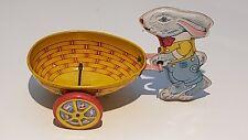 Vintage 1950s J. Chein Tin Litho Rabbit Pushing Egg Cart Toy Bunny Easter Rabbit