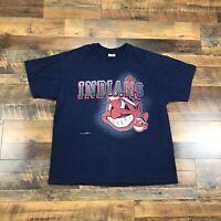 90s Cleveland Indians T Shirt Retro Vintage Chief Wahoo Logo MLB Adult Men's XL