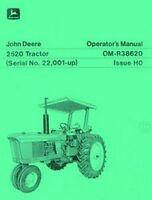 John Deere Model 2520  Tractor Operators Manual Serial 22001-up JD