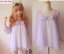 Girls Kawaii Princess Cute Sweet Dolly Lolita Chiffon Batwing shirt Top Purple