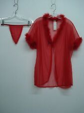 NWT Women's Elegant Moments See Thru Jacket w/ Panty Size XL Red #455C