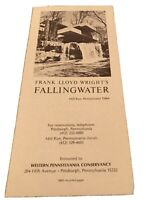 VINTAGE FRANK LLOYD WRIGHT FALLING WATER  BROCHURE MILL RUN PA PENNSYLVANIA EUC