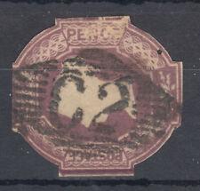 QV 6d purple Cut to Shape; Irish? Numeral. possibly 62 Belfast; pinhole, scans