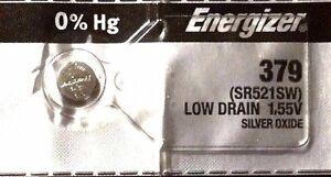 1 NEW ENERGIZER SR521SW 379 Silver Oxide 1.55v Watch Batteries Aussie Stock