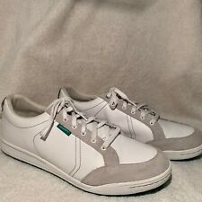Ashworth Cardiff Men's Leather Golf Shoe Spike-less Size 15 White W/ Green Sole