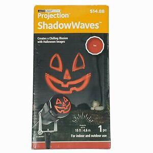 Gemmy LED Lightshow Projection Shadow Waves Red Jack O Lantern Halloween Light