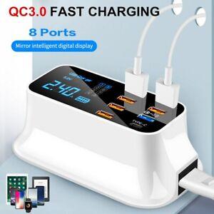 QC 3.0 Fast Charging 8 Port USB HUB Type C Desktop Dock Station LCD Display US