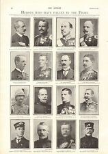 1900 ANTIQUE PRINT- BOER WAR-  HEROES WHO HAVE FALLEN IN THE FIGHT