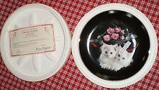 1993 Danbury Mint Coming Up Pink Roses Black Plate Peekaboo White Fluffy Kittens