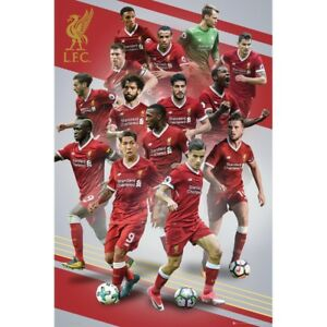 "LIVERPOOL PLAYERS COLLAGE  POSTER 24'X36"" SALAH, MANE OFFICIALLY LICENSED"
