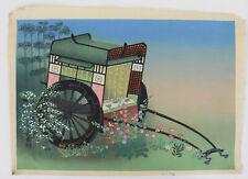 Wagon, court, flowers :Japanese print original Shin Hanga, Bakufu