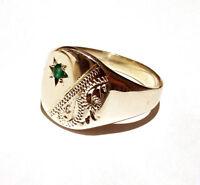 Gelbgold Smaragd Signet Ring Herren Gestempelt Britische Handgefertigt Größe P -