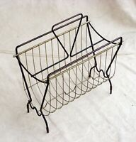 Vintage Atomic Age Wire Magazine Rack 2-Piece Black Brass Mid-Century Modern