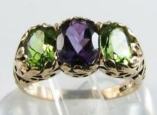 LARGE 9CT GOLD NATURAL PERIDOT & AMETHYST ART DECO VINTAGE INS RING 3.60CT