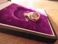 Toller 925 Silber Ring Designer Abstrakt Modern Elefant Tier Liebe Paar Zoo