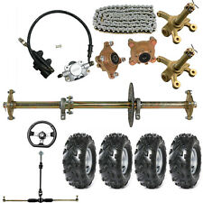 "32"" Go Kart Rear Axle Kit 8"" Wheels Steering Tie Rod Rack Quad ATV Trike Drift"
